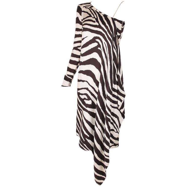 1998 S/S Thierry Mugler Silk Single Shoulder Cocktail Dress w/Zebra Print For Sale