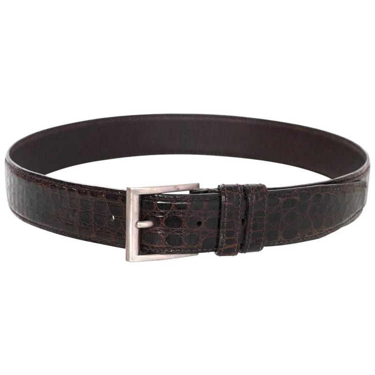Prada Brown Crocodile Belt sz 75 For Sale
