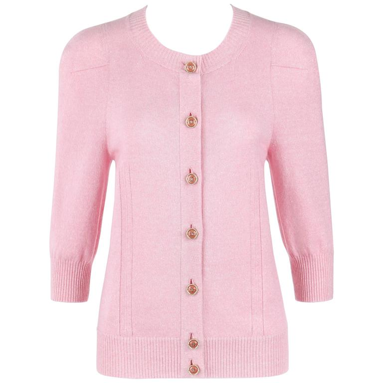 CHANEL Resort 2013 Light Pink Cashmere Linen 3/4 Sleeve Knit Cardigan Sweater For Sale