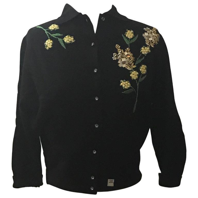 Schiaparelli 1960s Black Flower Button Yellow Floral Appliqué Cardigan Sweater 1