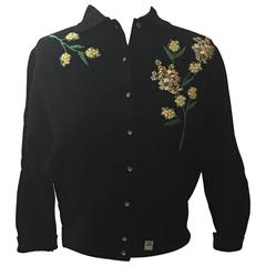 Schiaparelli 1960s Black Flower Button Yellow Floral Appliqué Cardigan Sweater
