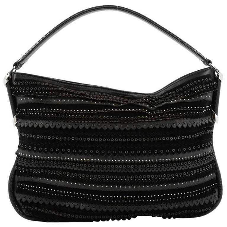 Jimmy Choo Zoe Hobo Embellished Mixed Media For Sale