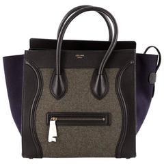 Celine Tricolor Luggage Handbag Felt Mini