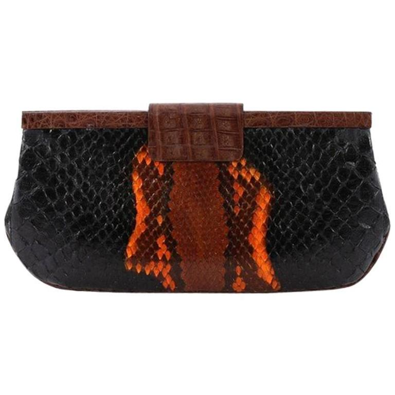 Nancy Gonzalez Frame Clutch Python Medium