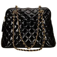 Black Chanel Quilted Patent Leather Bag