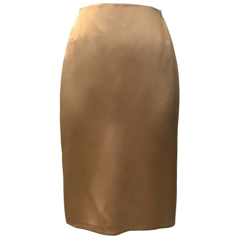 Gianni Versace Couture Gold Silk Slight Fishtail Back Pencil Skirt, 1990s
