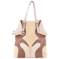 Salvatore Ferragamo Origami Zip Bowler Bag Leather and Python Tall