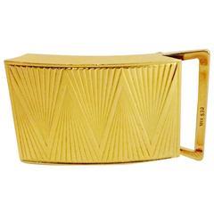 Men's or Women's 18KT Yellow Gold Deco Inspired Belt Buckle