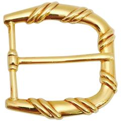 "Men's or Women's Tiffany & Co. 18 KT Gold ""D"" Ring Belt Buckle"