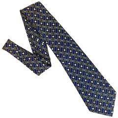 Men's Vintage Navy Silk Chanel Tie with Iconic Chain Link Loop in Back