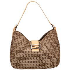Brown Fendi Zucchino Jacquard Shoulder Bag