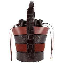 Salvatore Ferragamo Cut-Out Bucket Bag Crocodile and Ostrich with Suede Medium
