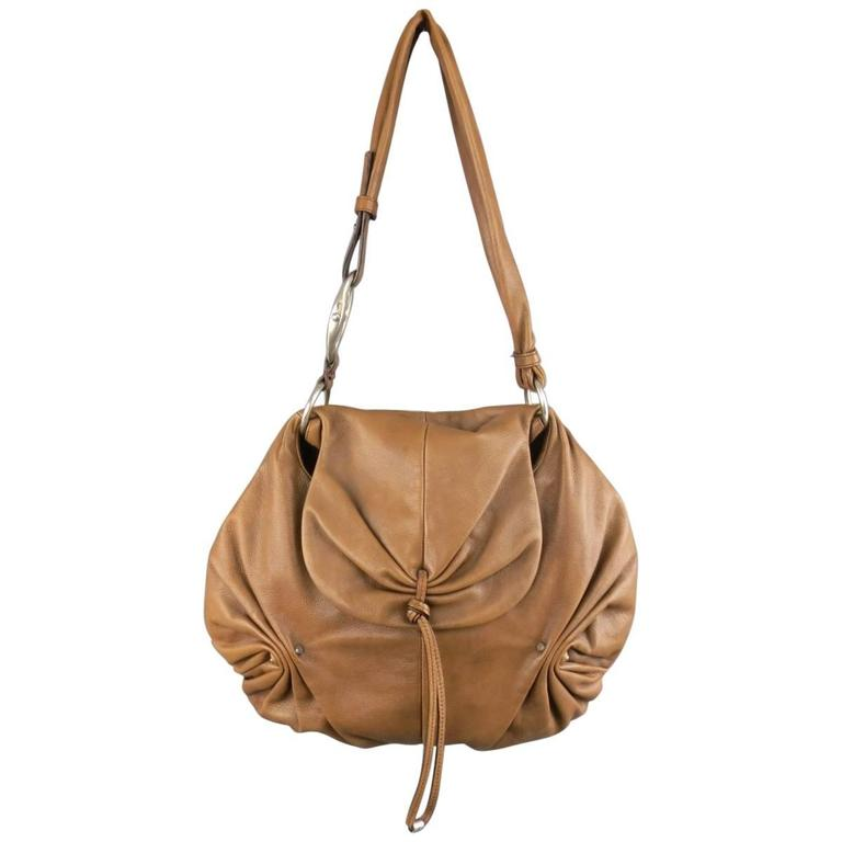 YVES SAINT LAURENT by TOM FORD 2003 Brown Leather Gathered Shoulder Bag For Sale