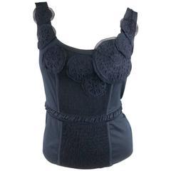 PRADA Size 4 Navy Stretch Cotton Sleeveless Applique Top