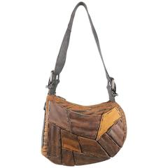 Vintage FENDI Wood Embellished Tiger Print Oyster Shoulder bag