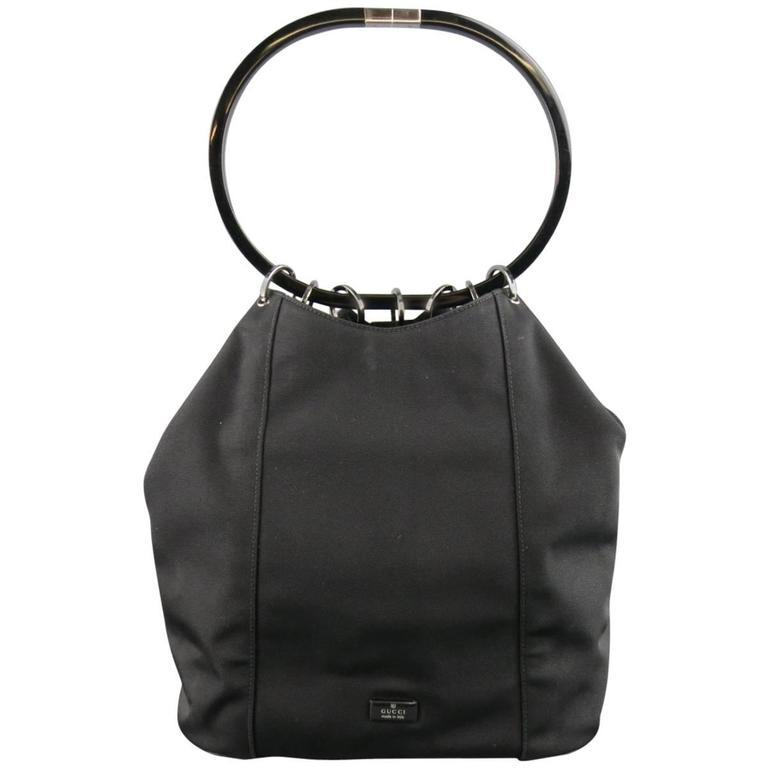 GUCCI Black Nylon Canvas Lucite Oval Hangle Bucket Bag For Sale