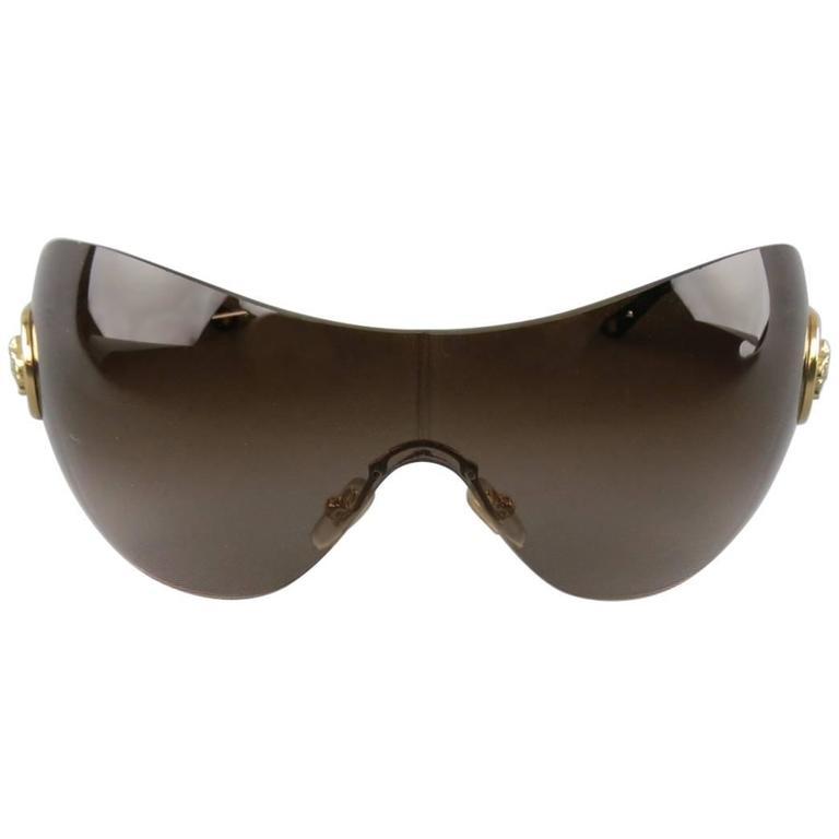 c5bc461062 GIANNI VERSACE Brown Gold Tone Medusa Emblem Metal Sunglasses at 1stdibs