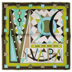 Vintage EMILIO PUCCI Green Teal & Brown Geometric VIVARA Silk Scarf
