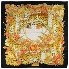 SALVATORE FERRAGAMO Black & Gold Floral Print Cheetah Silk Scarves