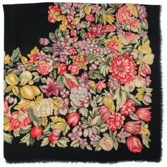 BOTTEGA VENETA Black Multi-color Floral Print Pasiley Textured Wool / Silk Shawl