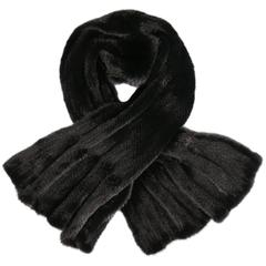 SAKS FIFTH AVENUE Fur Salon Black Knitted Mink Fur Scarf Shawl