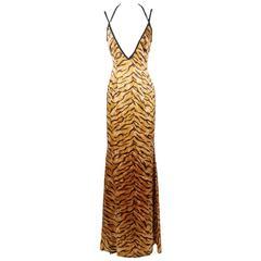 Todd Oldham Silk Tiger Print Quadruple Strap Dress, Spring 1995