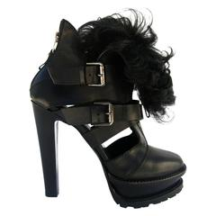 New Etro RUNWAY LEATHER SHEARLING PLATFORM ANKLE BOOTS BLACK It.38 - US 8
