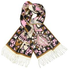 EMILIO PUCCI Pink Brown & Cream Print Cashmere Fringe Scarf