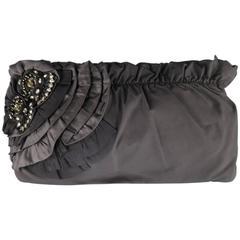 ELIE TAHARI Black Gathered Nylon Crystal Flower Ruffle Clutch Handbag