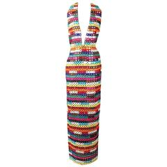 Todd Oldham Rainbow Tiled Mirror Gown, Fall 1993