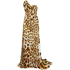 New ROBERTO CAVALLI Leopard Print Silk Corset Dress Gown It. 42 - US 6