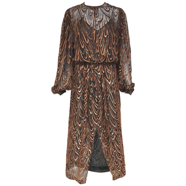 Oscar de la renta brown silk velvet devore long sleeve dress, 1980s