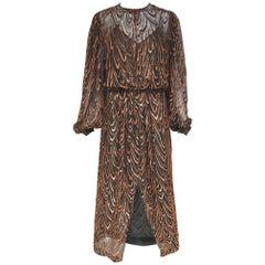 Vintage 1980s Oscar de la renta brown silk velvet devore long sleeve dress