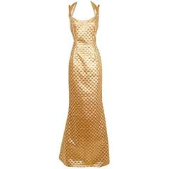 Todd Oldham Two Tone Gold Checkerboard Weave Gown,