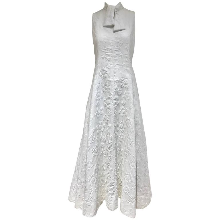 1970s Geoffrey Beene white cotton pique maxi dress