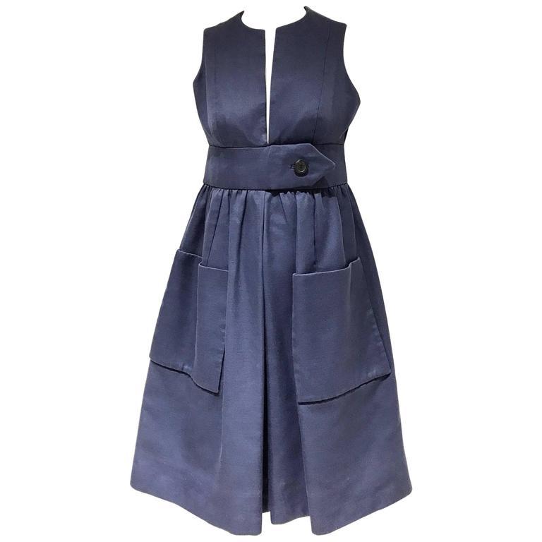 1960s Geoffrey Beene navy blue V neck cocktail  dress For Sale