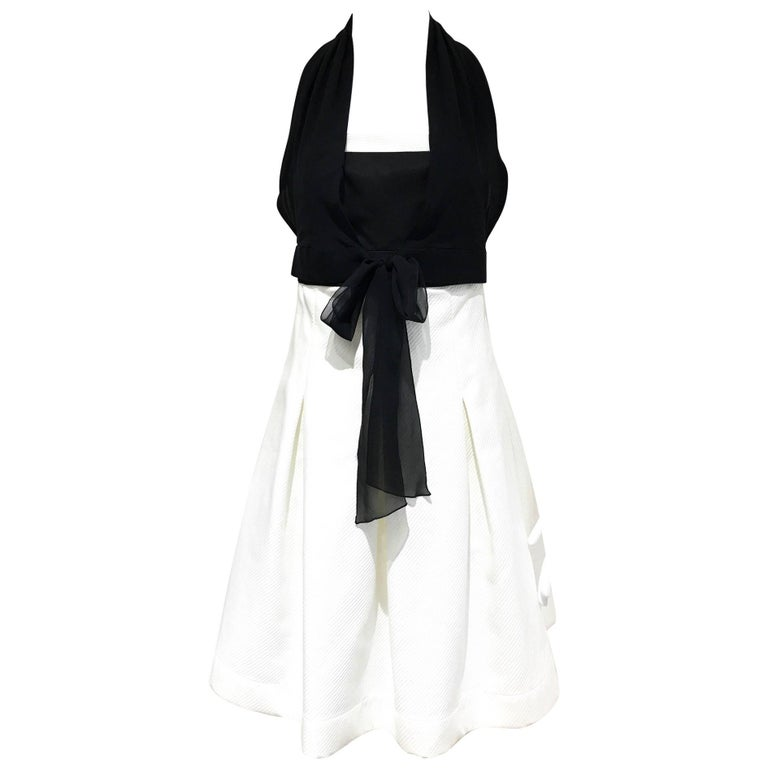 Vintage 1990s CHANEL Black and White Cotton Halter Cocktail dress For Sale