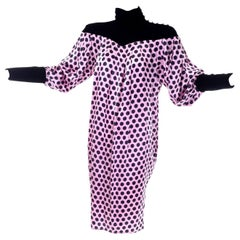 1980s Emanuel Ungaro Vintage Silk and Velvet Dress Pink Black Polka Dots