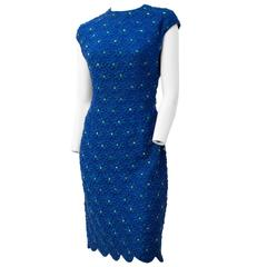 60s Royal Blue Embroidered Sheath Dress with Scallop Hem