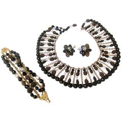 Trifari Exquisite Crystal Beaded Parure Necklace Set ca 1960s