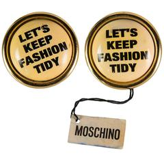 "New Vintage Moschino Beige ""Let's Keep Fashion Tidy"" Round Clip On Earrings"