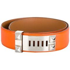 Gorgeous Hermes Orange Calfskin Leather Collier de Chien Medor Belt 75cm
