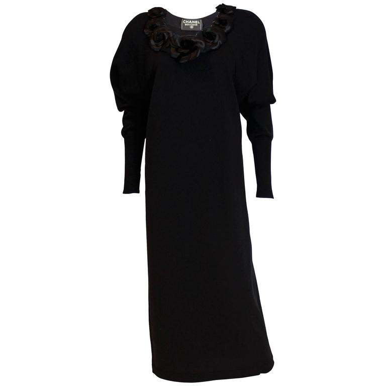 Chanel Boutique Black Sweater Dress with Silk Flowers 1