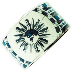 Rare Hermes Extra Wide Printed Enamel Bracelet 65 Blue Sun Zodiac Calendar 2005