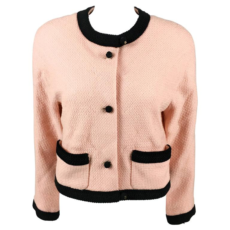 1990s Chanel Pink Tweed Cropped Jacket 1