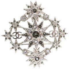 Chanel Silvertone Crystal Starburst CC Brooch Pin