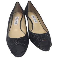 Jimmy Choo New Black Glitter Kitten Heels