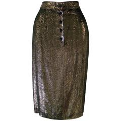 Istante By Gianni Versace Gold Lame Skirt Fall 1986