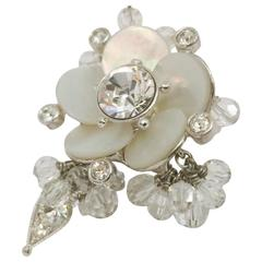 Delightful Dior Shell Mother of Pearl and Crystals Ring