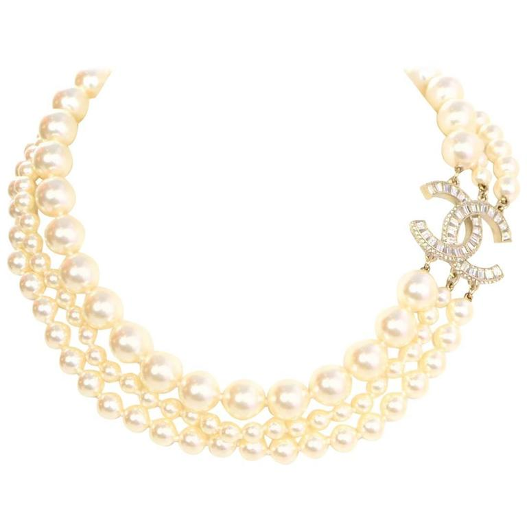 f0b92137501f4 Chanel 3-Strand Faux Pearl & Crystal CC Choker Necklace